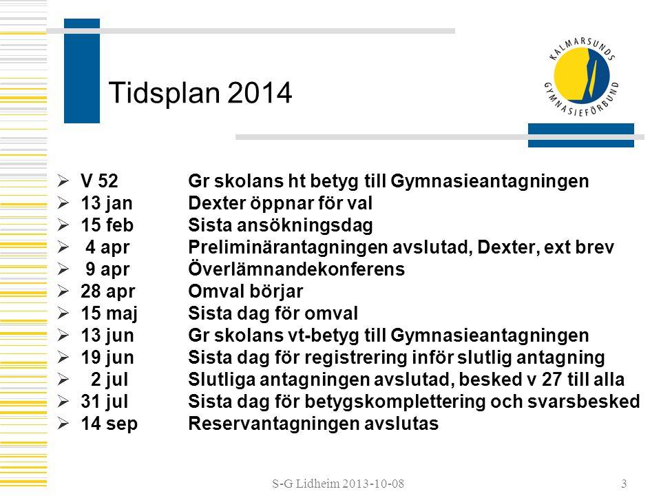 Tidsplan 2014 V 52 Gr skolans ht betyg till Gymnasieantagningen