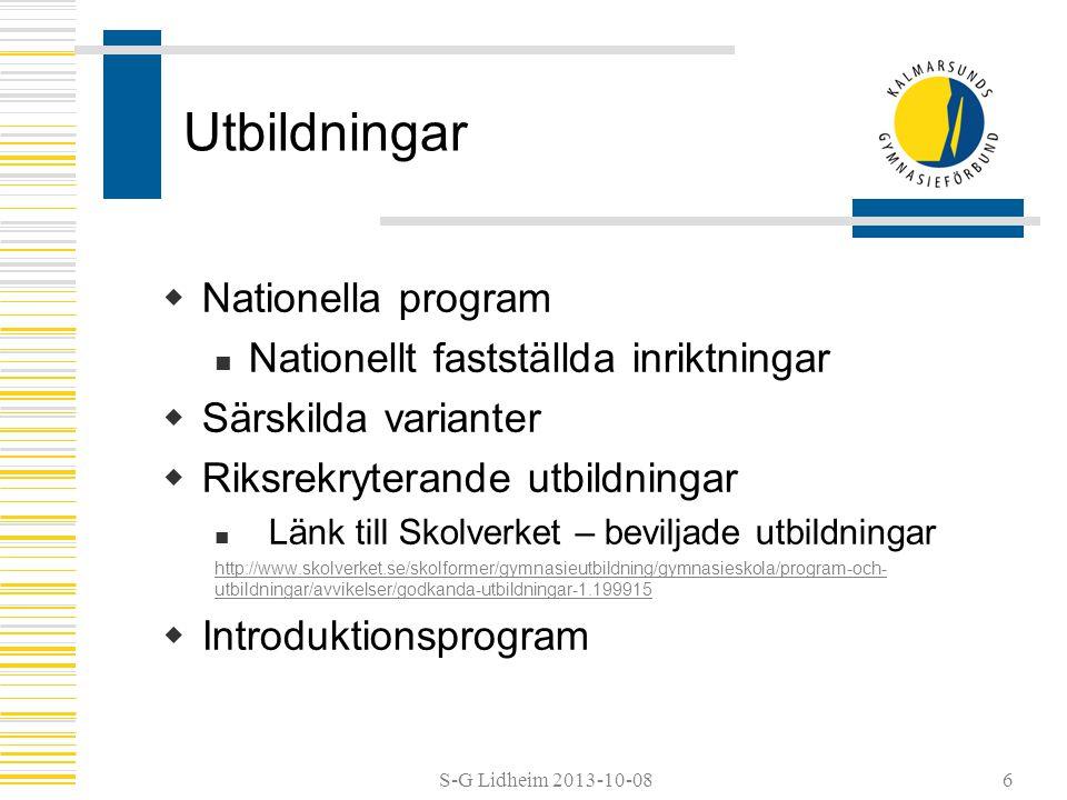 Utbildningar Nationella program Nationellt fastställda inriktningar
