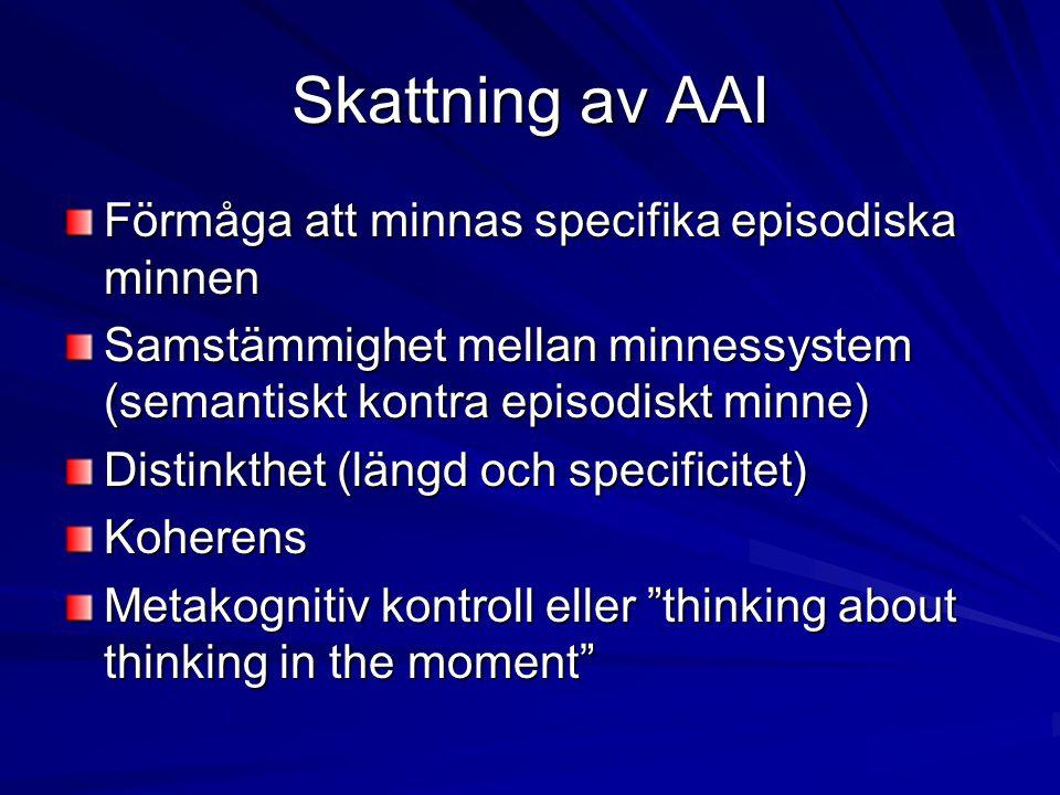 Skattning av AAI Förmåga att minnas specifika episodiska minnen