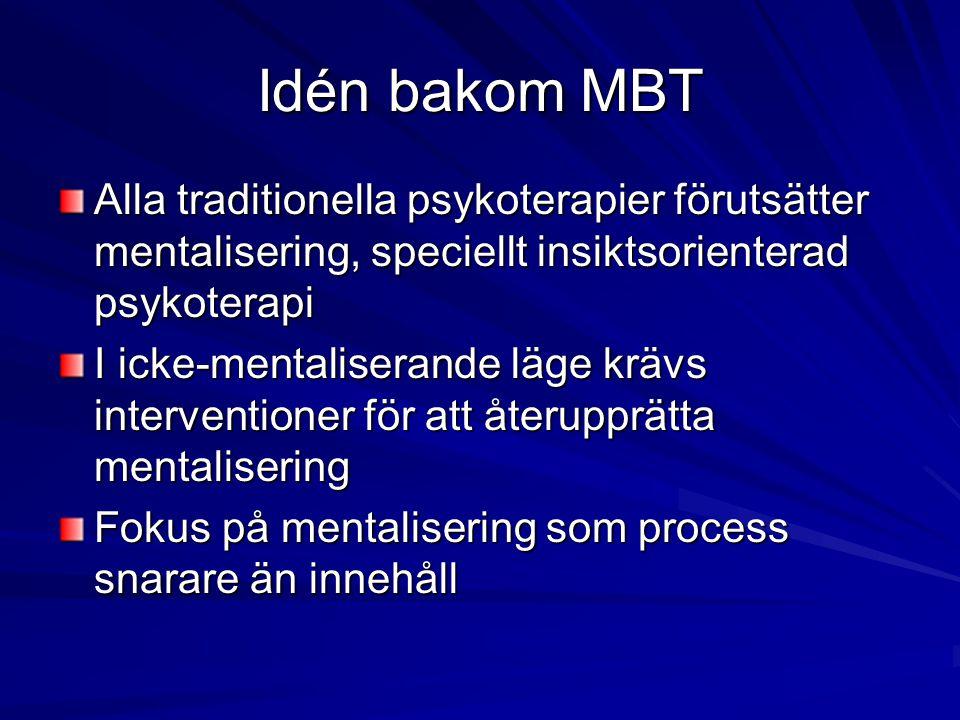 Idén bakom MBT Alla traditionella psykoterapier förutsätter mentalisering, speciellt insiktsorienterad psykoterapi.