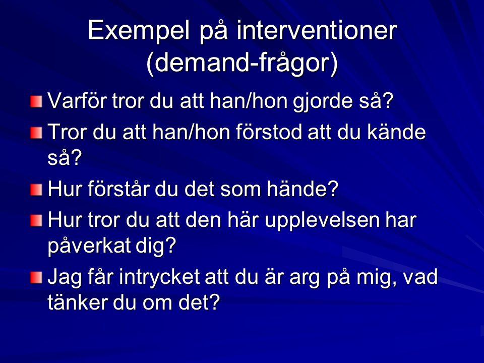 Exempel på interventioner (demand-frågor)