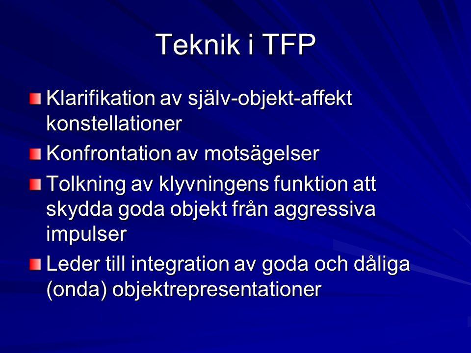 Teknik i TFP Klarifikation av själv-objekt-affekt konstellationer