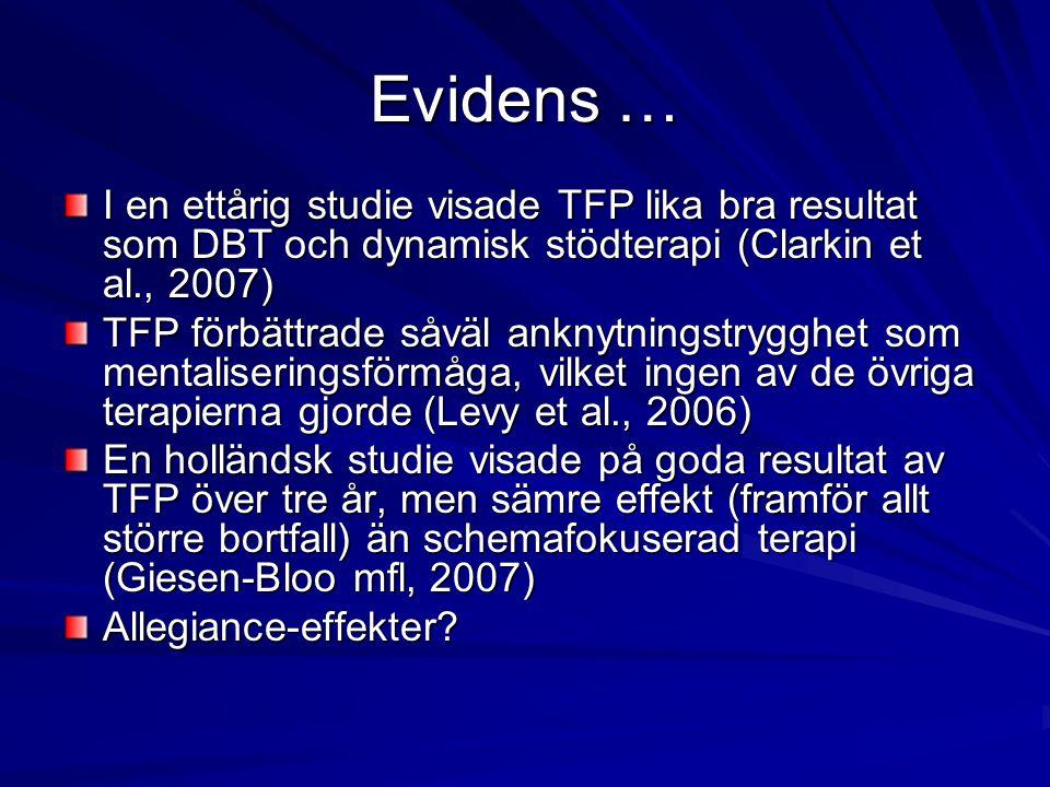 Evidens … I en ettårig studie visade TFP lika bra resultat som DBT och dynamisk stödterapi (Clarkin et al., 2007)