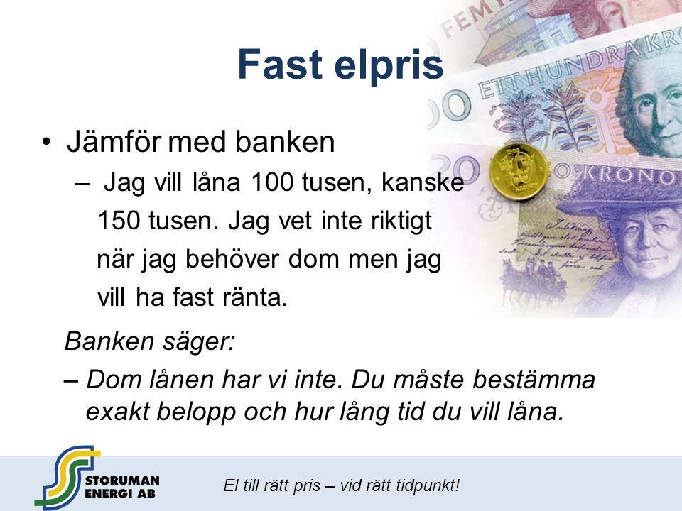 Fast elpris Jämför med banken Jag vill låna 100 tusen, kanske