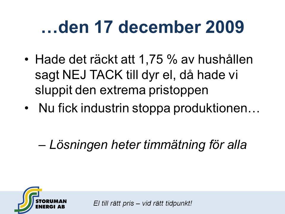 …den 17 december 2009 Hade det räckt att 1,75 % av hushållen sagt NEJ TACK till dyr el, då hade vi sluppit den extrema pristoppen.