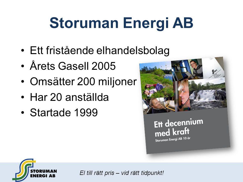 Storuman Energi AB Ett fristående elhandelsbolag Årets Gasell 2005