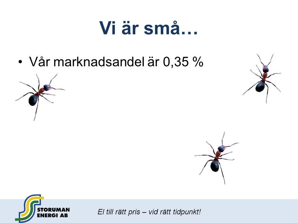 Vi är små… Vår marknadsandel är 0,35 %