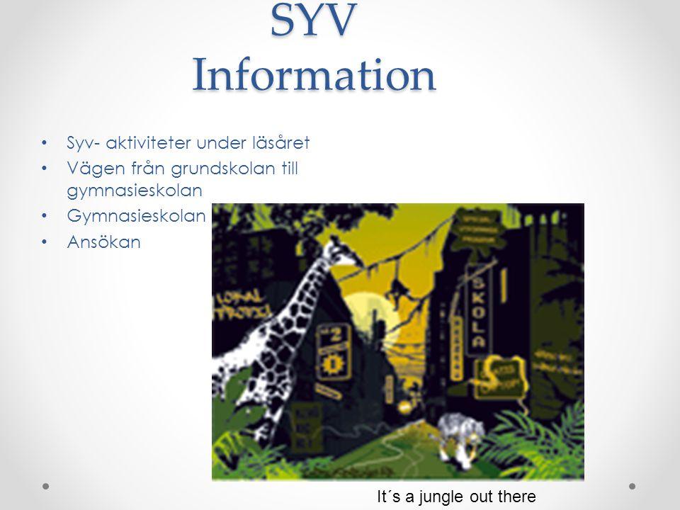 SYV Information Syv- aktiviteter under läsåret
