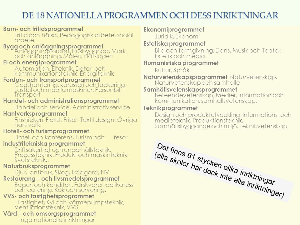 DE 18 NATIONELLA PROGRAMMEN OCH DESS INRIKTNINGAR