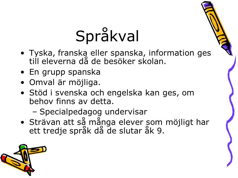 Språkval Tyska, franska eller spanska, information ges till eleverna då de besöker skolan. En grupp spanska.
