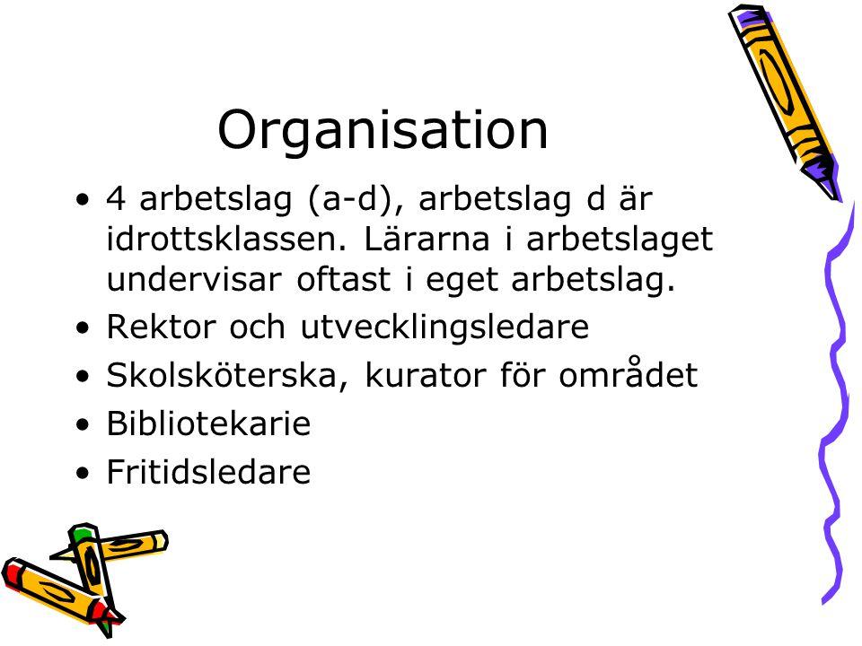Organisation 4 arbetslag (a-d), arbetslag d är idrottsklassen. Lärarna i arbetslaget undervisar oftast i eget arbetslag.