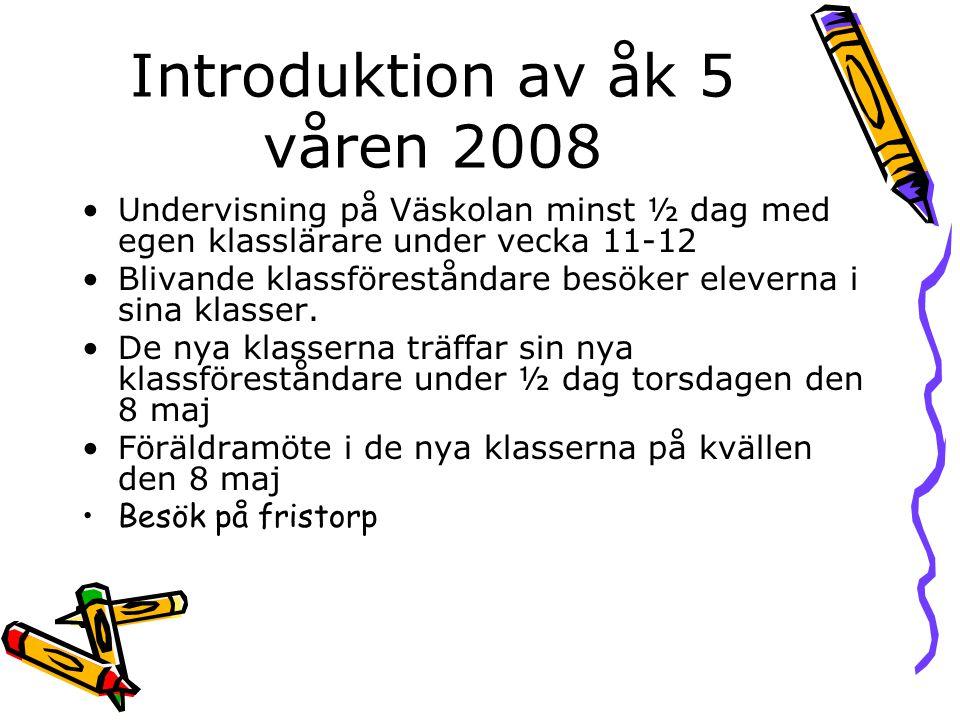 Introduktion av åk 5 våren 2008