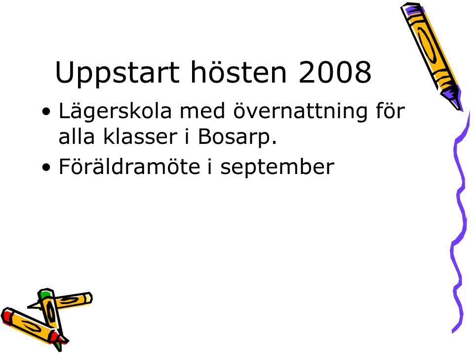 Uppstart hösten 2008 Lägerskola med övernattning för alla klasser i Bosarp.