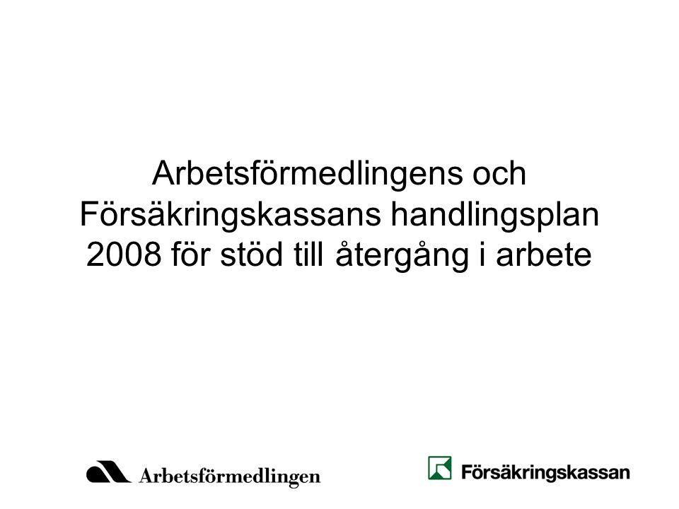 Arbetsförmedlingens och Försäkringskassans handlingsplan 2008 för stöd till återgång i arbete