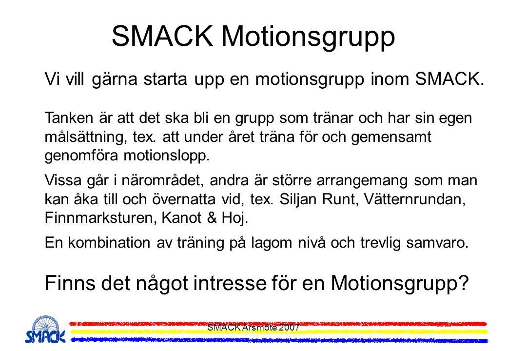 SMACK Motionsgrupp Finns det något intresse för en Motionsgrupp