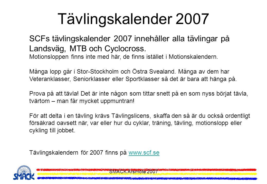 Tävlingskalender 2007 SCFs tävlingskalender 2007 innehåller alla tävlingar på Landsväg, MTB och Cyclocross.