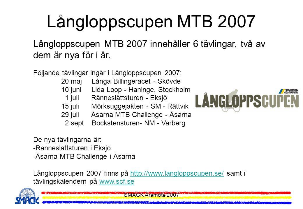 Långloppscupen MTB 2007 Långloppscupen MTB 2007 innehåller 6 tävlingar, två av dem är nya för i år.