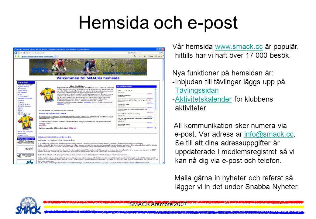Hemsida och e-post Vår hemsida www.smack.cc är populär, hittills har vi haft över 17 000 besök. Nya funktioner på hemsidan är: