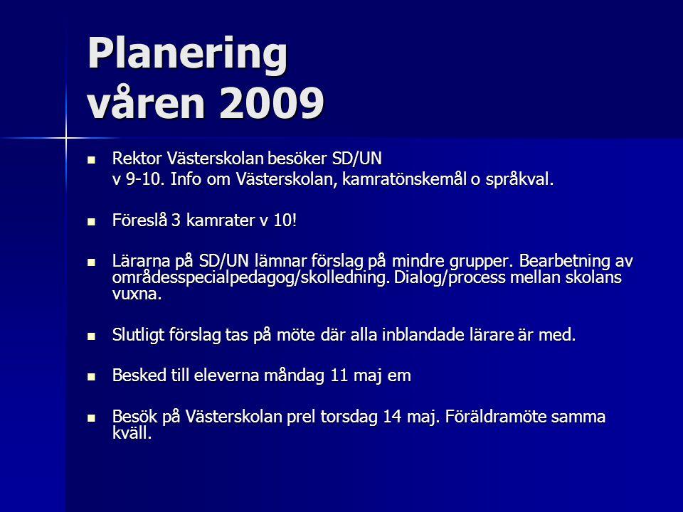 Planering våren 2009 Rektor Västerskolan besöker SD/UN