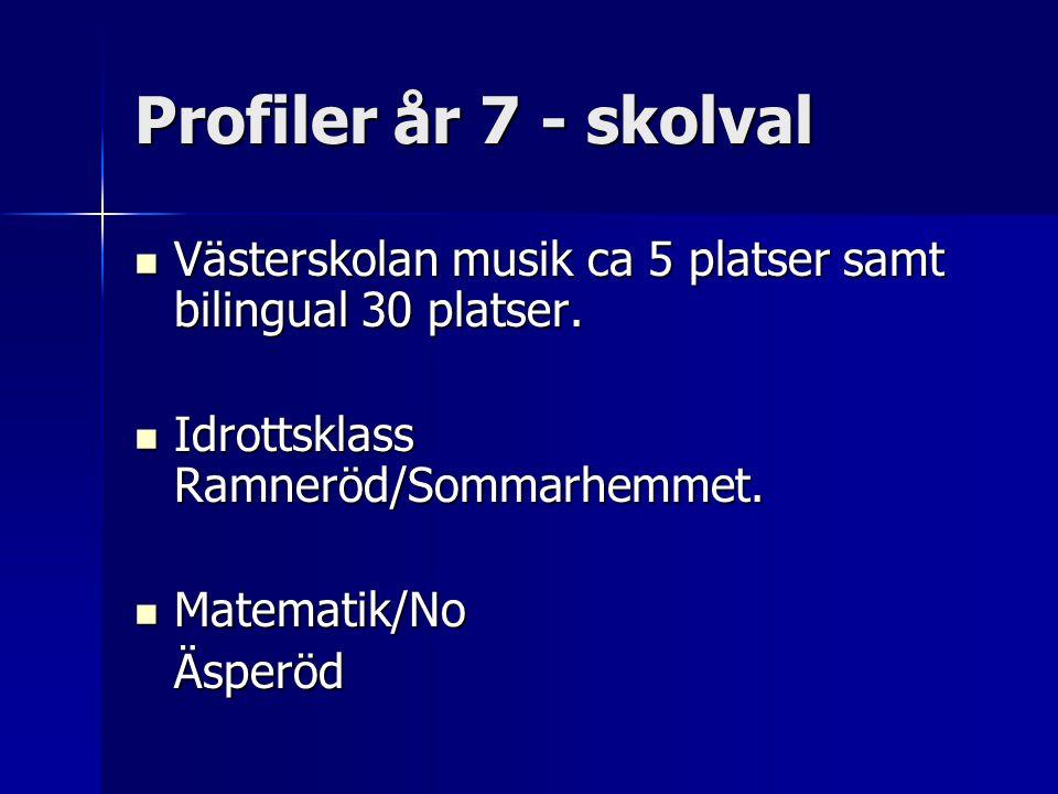 Profiler år 7 - skolval Västerskolan musik ca 5 platser samt bilingual 30 platser. Idrottsklass Ramneröd/Sommarhemmet.