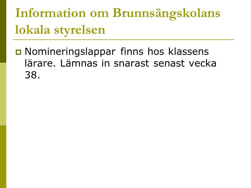 Information om Brunnsängskolans lokala styrelsen