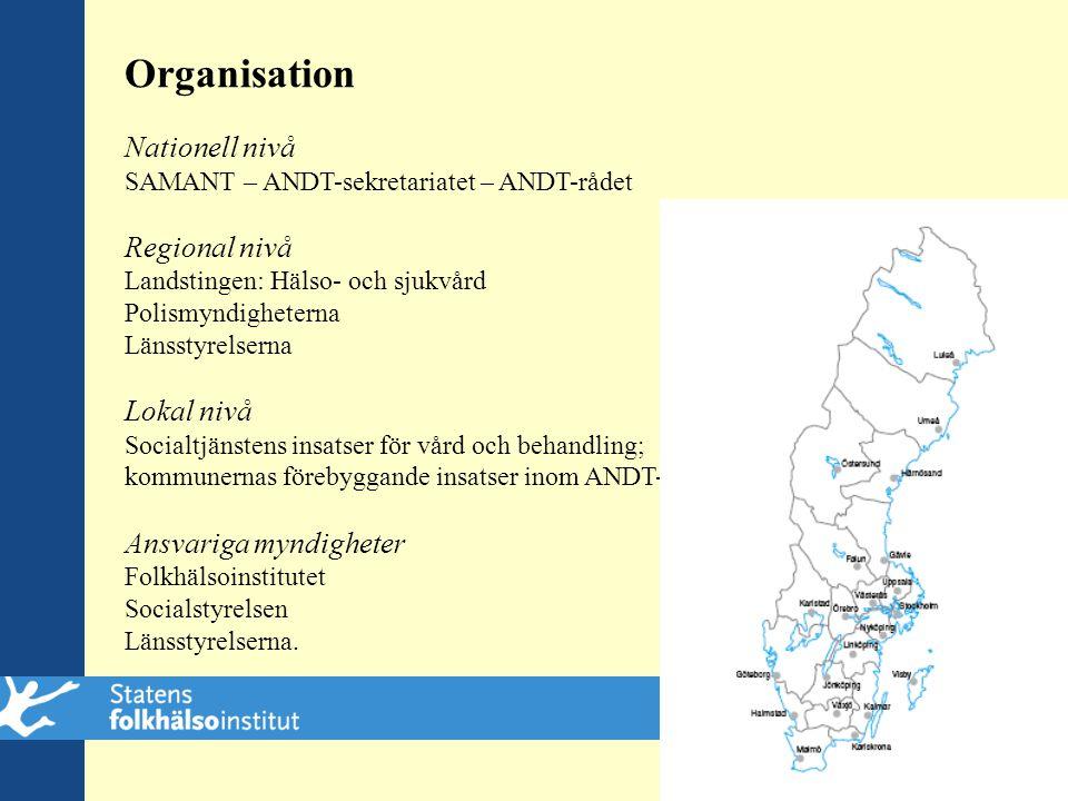 Organisation Nationell nivå Regional nivå Lokal nivå