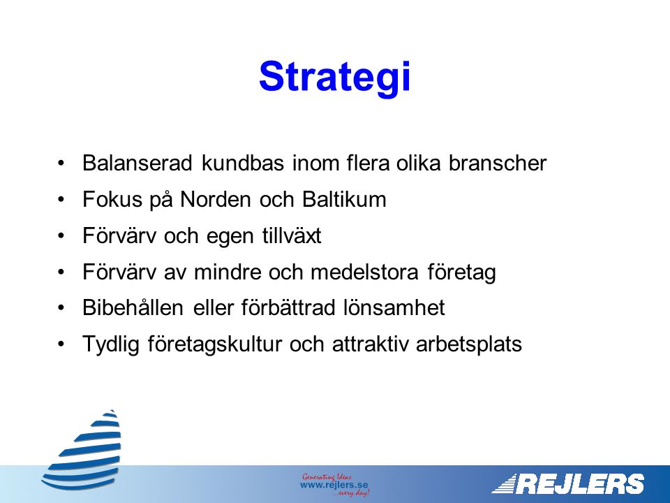Strategi Balanserad kundbas inom flera olika branscher