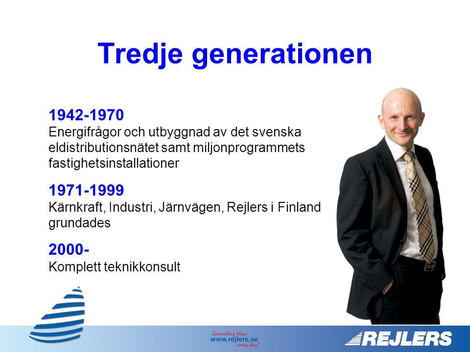 Tredje generationen 1942-1970 Energifrågor och utbyggnad av det svenska eldistributionsnätet samt miljonprogrammets fastighetsinstallationer.