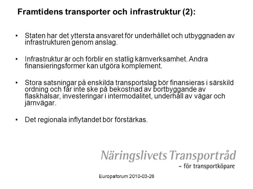Framtidens transporter och infrastruktur (2):