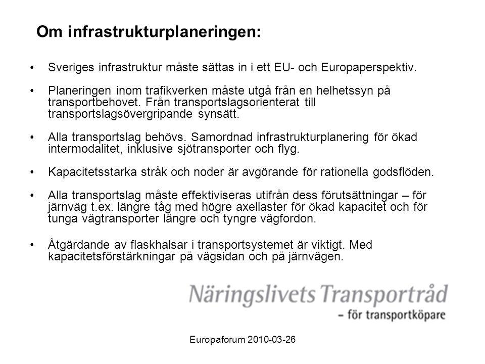 Om infrastrukturplaneringen: