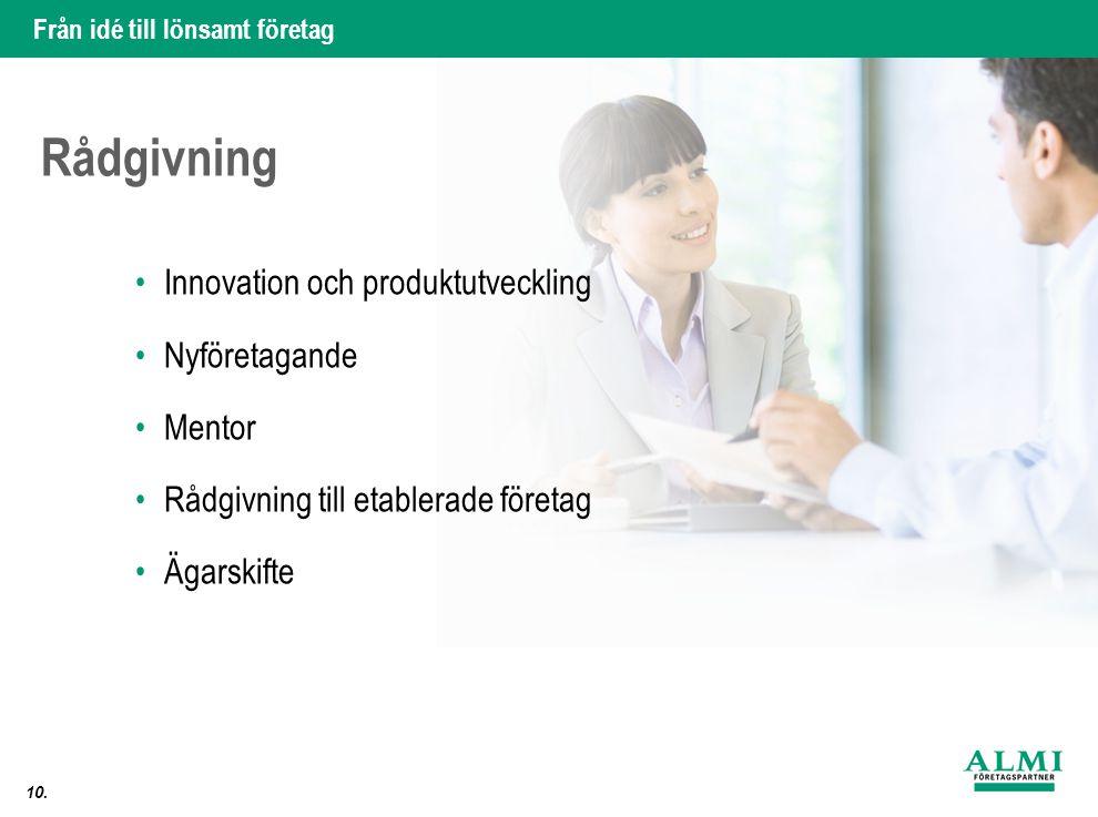Rådgivning Innovation och produktutveckling Nyföretagande Mentor