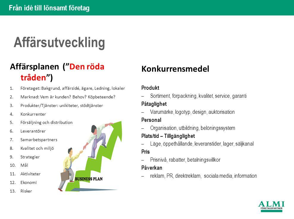 Affärsutveckling Affärsplanen ( Den röda tråden ) Konkurrensmedel