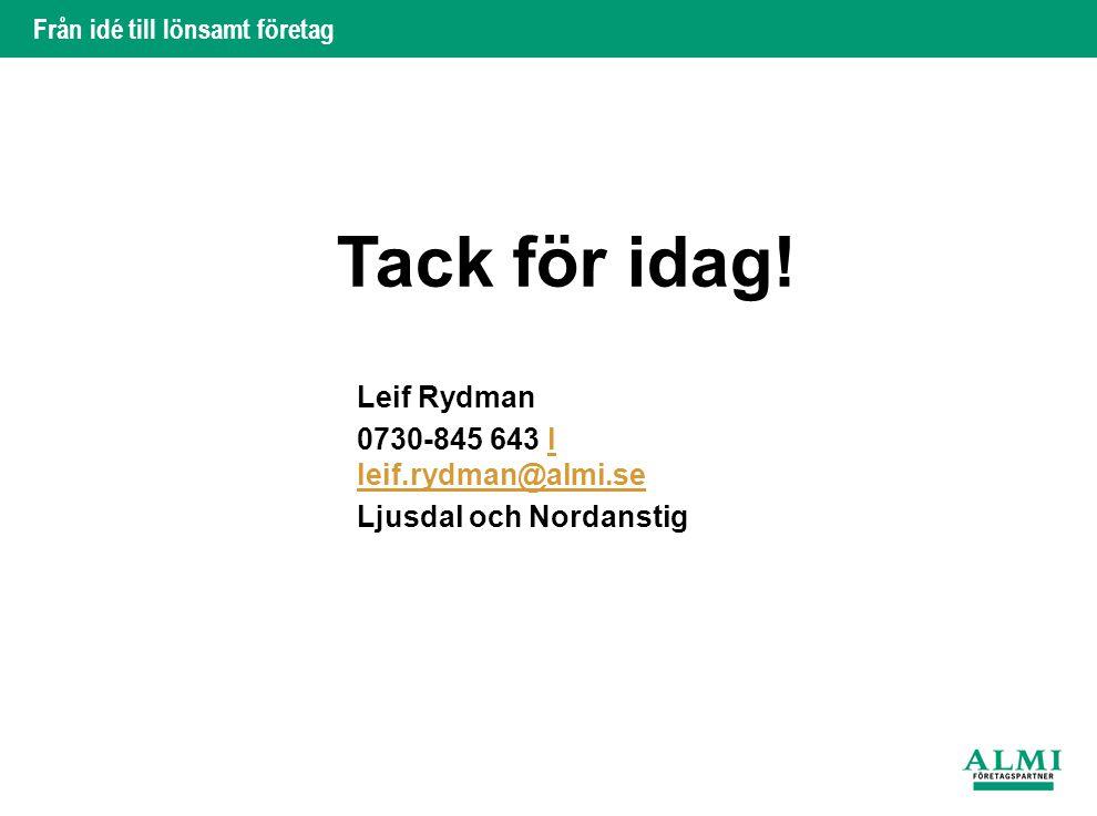 Tack för idag! Leif Rydman 0730-845 643 l leif.rydman@almi.se