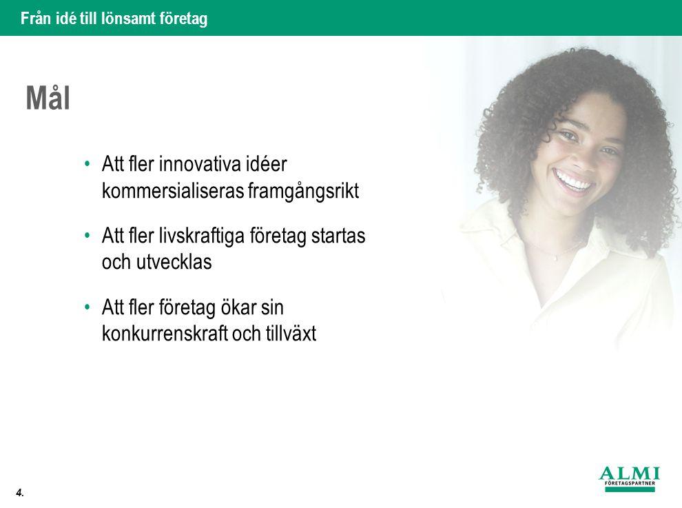 Mål Att fler innovativa idéer kommersialiseras framgångsrikt
