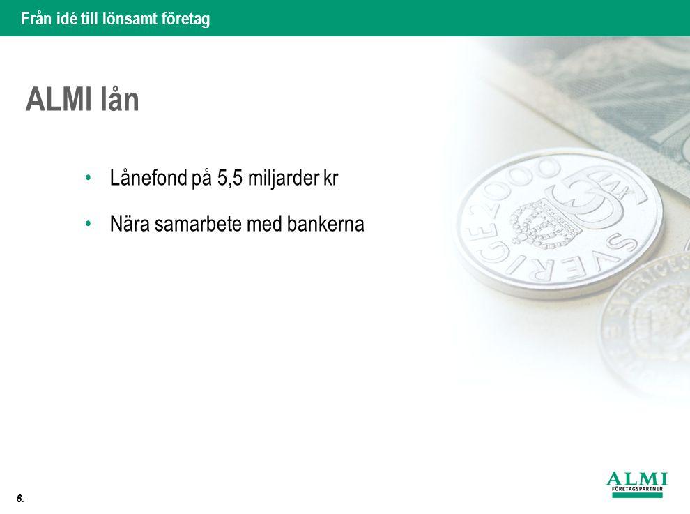 ALMI lån Lånefond på 5,5 miljarder kr Nära samarbete med bankerna