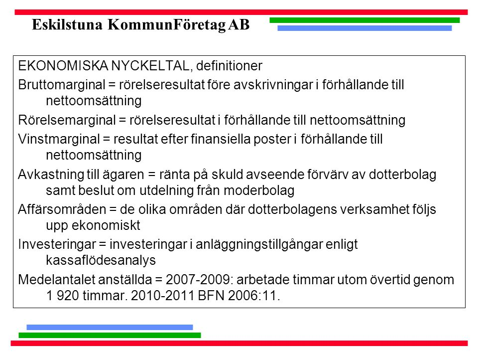 EKONOMISKA NYCKELTAL, definitioner