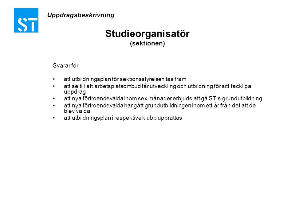 Studieorganisatör (sektionen)