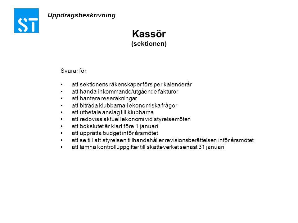 Kassör (sektionen) Uppdragsbeskrivning Svarar för