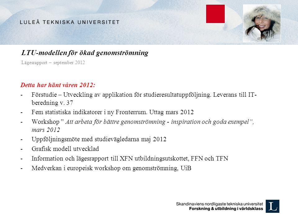 LTU-modellen för ökad genomströmning Lägesrapport – september 2012