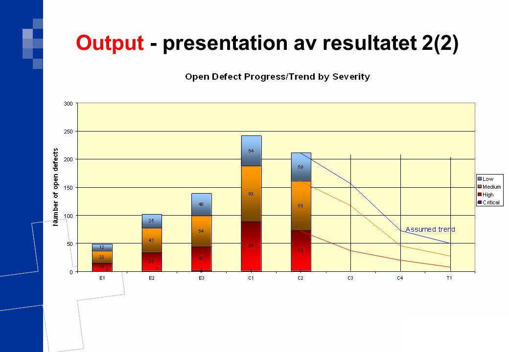 Output - presentation av resultatet 2(2)