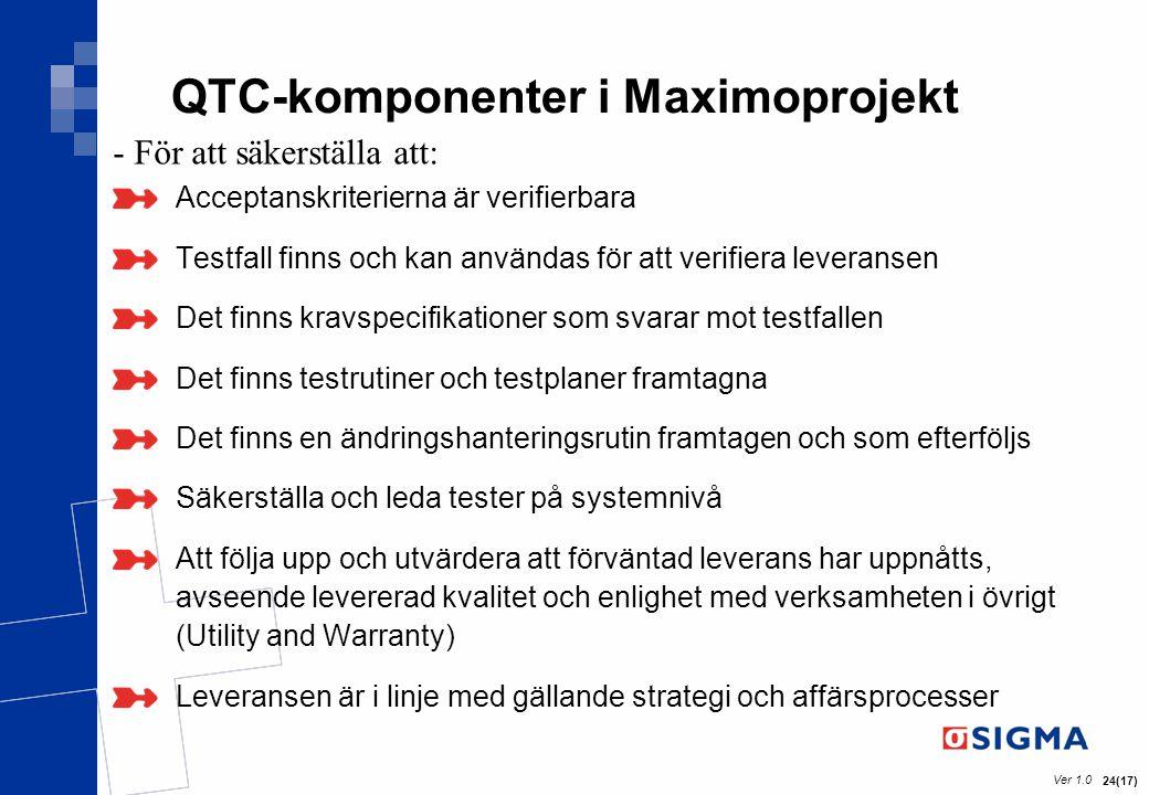 QTC-komponenter i Maximoprojekt