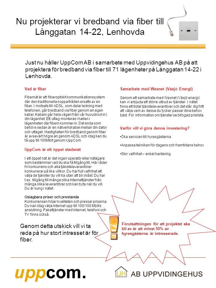 Nu projekterar vi bredband via fiber till Långgatan 14-22, Lenhovda