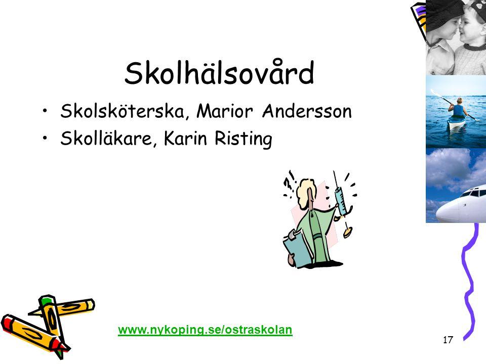 Skolhälsovård Skolsköterska, Marior Andersson