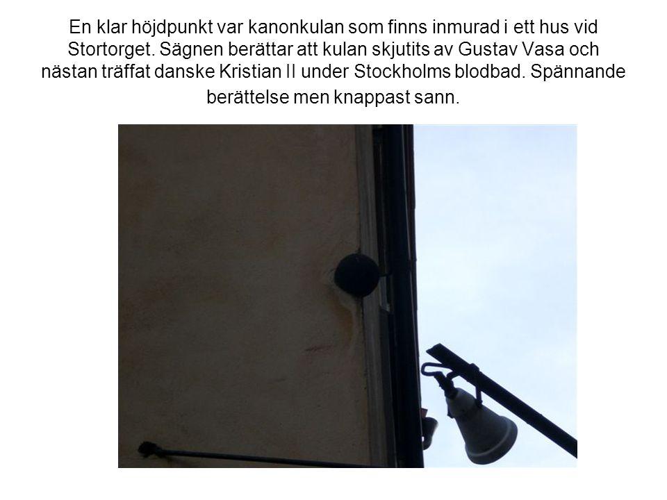 En klar höjdpunkt var kanonkulan som finns inmurad i ett hus vid Stortorget.