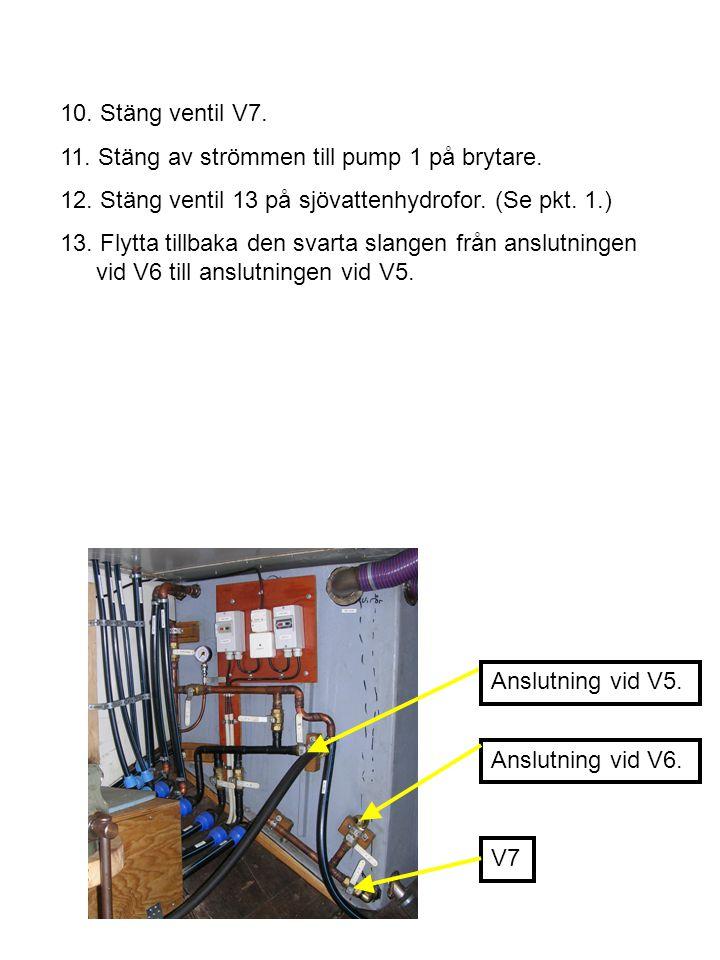 10. Stäng ventil V7. 11. Stäng av strömmen till pump 1 på brytare. 12. Stäng ventil 13 på sjövattenhydrofor. (Se pkt. 1.)