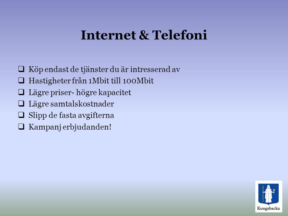 Internet & Telefoni Köp endast de tjänster du är intresserad av