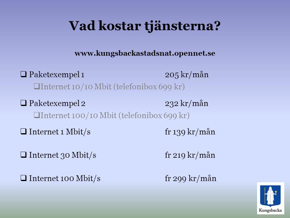 Vad kostar tjänsterna www.kungsbackastadsnat.opennet.se