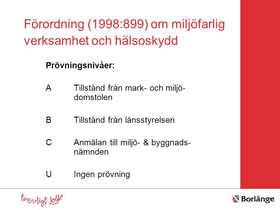 Förordning (1998:899) om miljöfarlig verksamhet och hälsoskydd