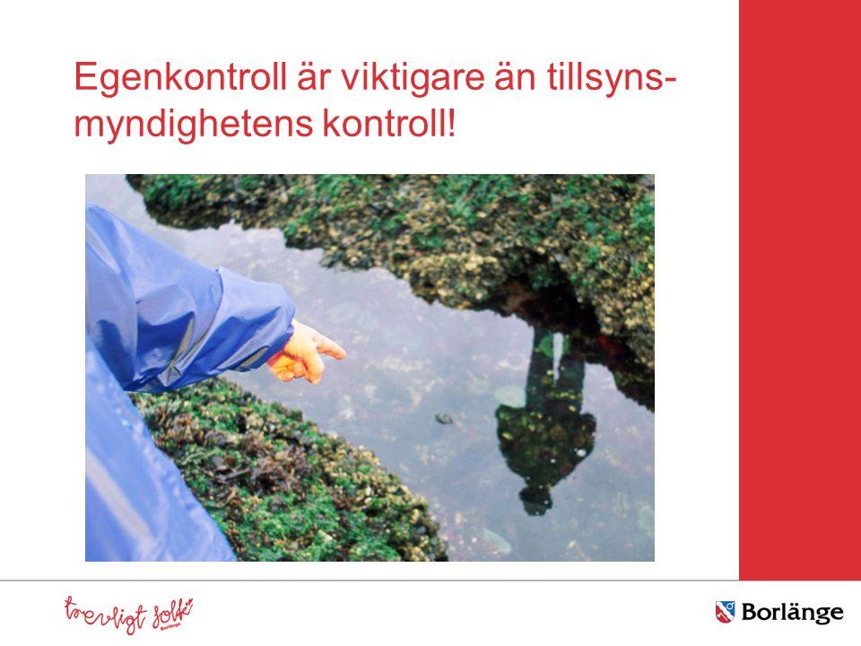 Egenkontroll är viktigare än tillsyns-myndighetens kontroll!