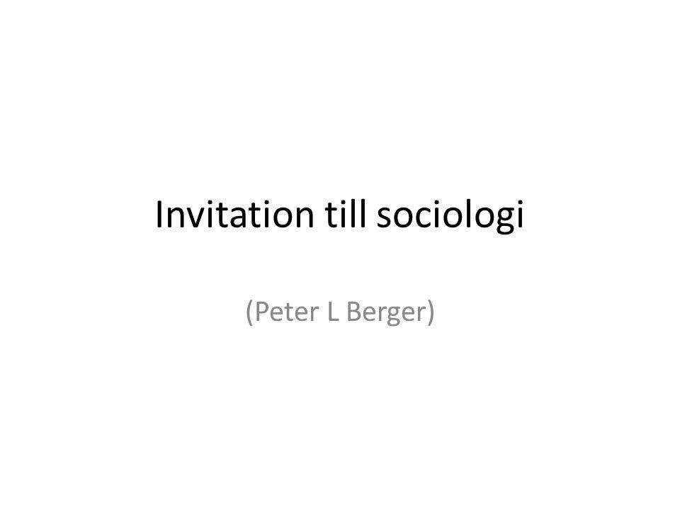 Invitation till sociologi